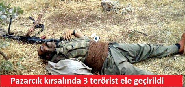 Pazarcık kırsalında 3 terörist ölü ele geçirildi