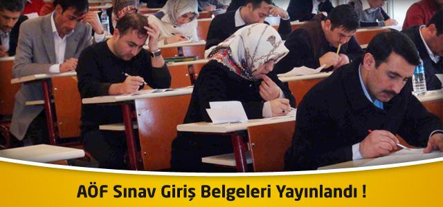 AÖF Sınav Giriş Belgeleri Yayınlandı ! AÖF Vize Sınavları 5-6 Ocak 2013'te