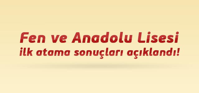 Fen ve Anadolu Lisesi ilk atama sonuçları açıklandı!