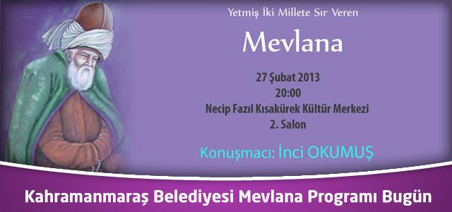 Kahramanmaraş Belediyesi Mevlana Programı Bugün