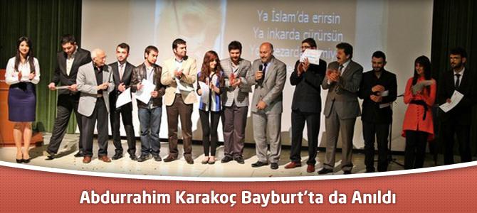 Abdurrahim Karakoç Bayburt'ta da Anıldı