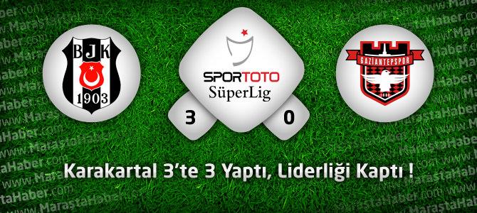 Beşiktaş 3 – Gaziantepspor 0 Geniş maç özeti ve golleri