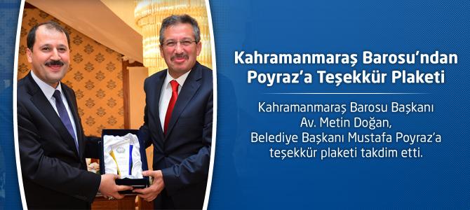 Kahramanmaraş Barosu'ndan Başkan Poyraz'a Teşekkür Plaketi