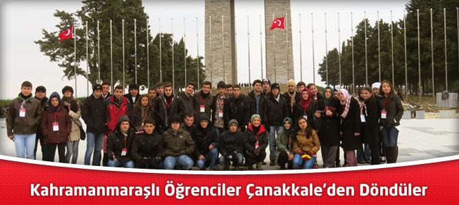 Kahramanmaraşlı Öğrenciler Çanakkale'den Döndüler