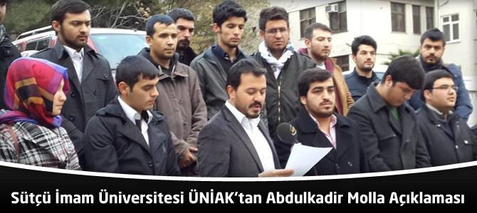 Sütçü İmam Üniversitesi (KSÜ) ÜNİAK'tan Abdulkadir Molla Açıklaması