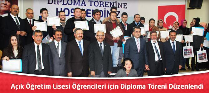 Açık Öğretim Lisesi Öğrencileri için Diploma Töreni Düzenlendi