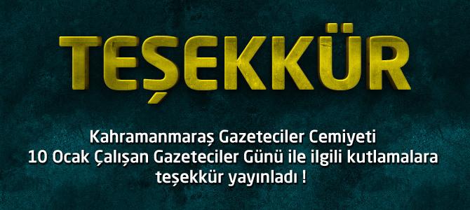 Kahramanmaraş Gazeteciler Cemiyeti'nden Teşekkür