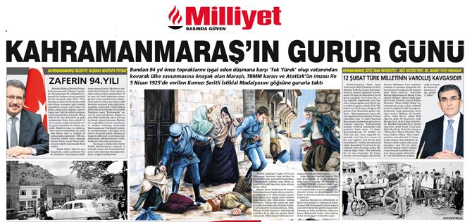 12-13 Şubat'ta Milliyet Gazetesi'nin Konusu Kahramanmaraş