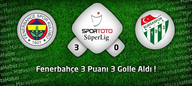 Fenerbahçe 3 –  Bursaspor 0 Geniş Maç özeti ve Maçın Golleri