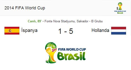 İspanya 1 – Hollanda 5 dünya kupası – Maç özeti ve maçın golleri