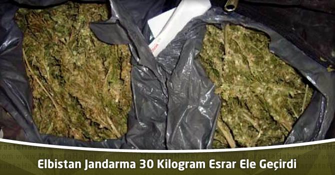 Elbistan Jandarma 30 Kilogram Esrar Ele Geçirdi
