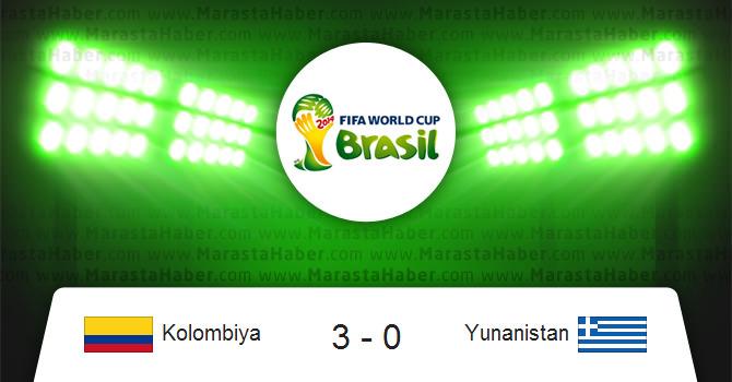 Kolombiya 3 – Yunanistan 0 dünya kupası – Maç özeti ve maçın golleri