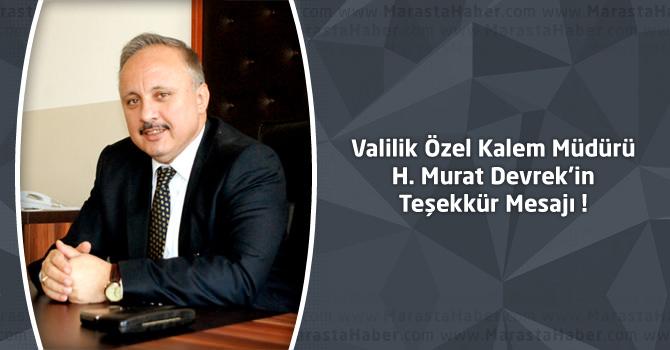 Kahramanmaraş Valilik Özel Kalem Müdürü H. Murat Devrek'in Teşekkür Mesajı
