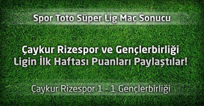 Çaykur Rizespor 1 – 1 Gençlerbirliği geniş maç özeti ve maçın golleri