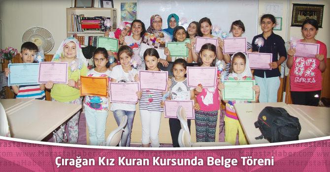 Çırağan Kız Kuran Kursunda Belge Töreni