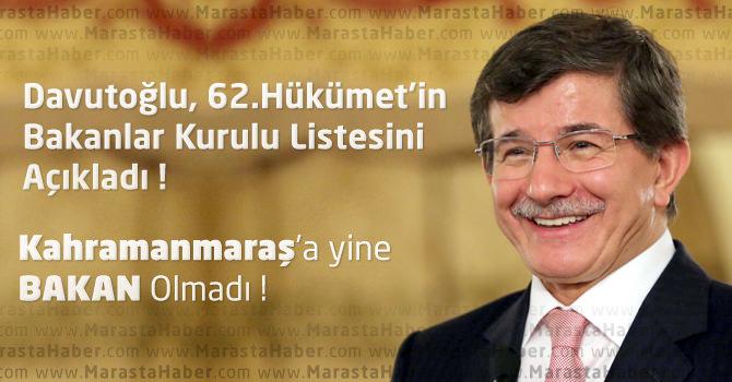 Başbakan Davutoğlu, 62.Hükümet'in Bakanlar Kurulu Listesini Açıkladı !