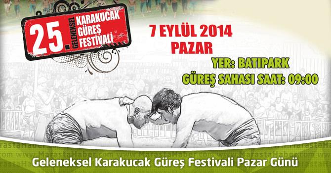 Geleneksel Karakucak Güreş Festivali Pazar Günü