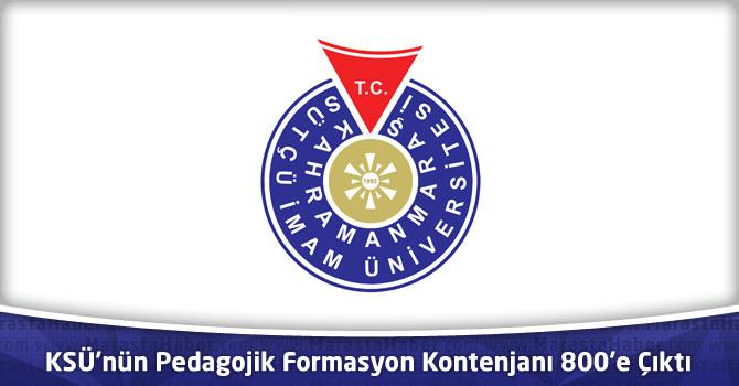 KSÜ'nün Pedagojik Formasyon Kontenjanı 800'e Çıktı