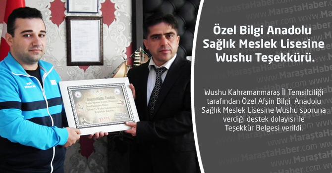 Özel Bilgi Anadolu Sağlık Meslek Lisesine Wushu Teşekkürü.