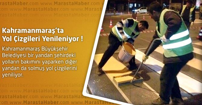 Kahramanmaraş'ta Yol Çizgileri Yenileniyor