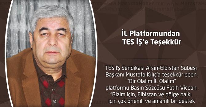 İL Platformundan TES İŞ'e Teşekkür