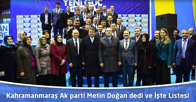 Kahramanmaraş Ak parti Metin Doğan dedi ve İşte Listesi