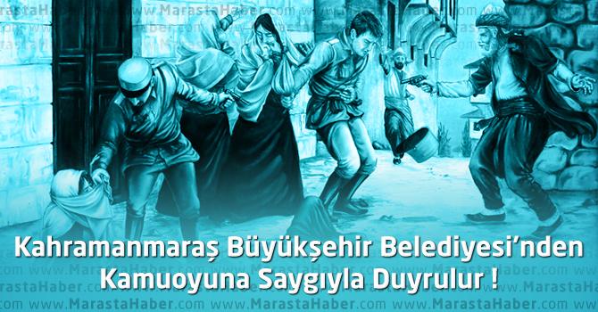 Kahramanmaraş Büyükşehir Belediyesi'nden Kamuoyuna Saygıyla Duyrulur