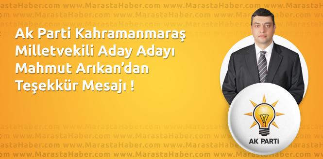 Mahmut Arıkan Teşekkür Mesajı Yayınladı !
