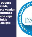 KASKİ'den içmesuları ile ilgili basın duyurusu