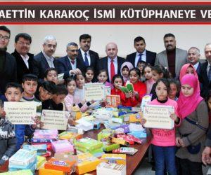 """Barınma Merkezi İlkokulunda """"Bahaettin Karakoç"""" Kütüphanesi açıldı"""