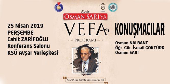 KSÜ'den Şair Osman Sarı'ya Vefa