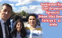 Gazi Ortaokulu öğrencisi Didem Ülkü Demirci Türkiye 2. si oldu