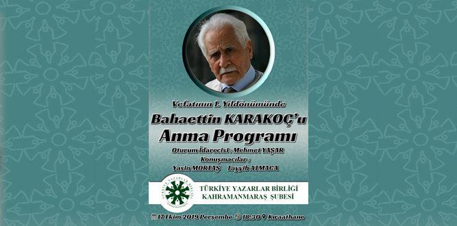 TYB Bahaettin Karakoç'u Anacak
