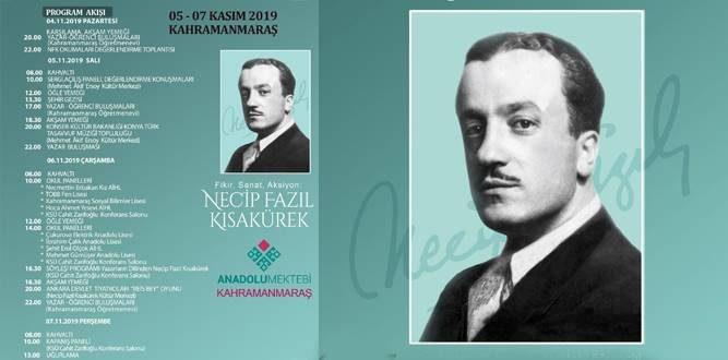 """Necip Fazıl Kısakürek"""" programı 05-07 tarihlerinde Kahramanmaraş'ta"""