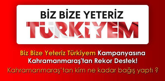 Biz Bize Yeteriz Türkiyem Kampanyasına Kahramanmaraş'tan Rekor Bağış!