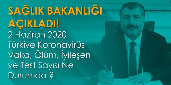 2 Haziran 2020 Türkiye Koronavirüs Vaka, Ölüm, İyileşen ve Test Sayısı