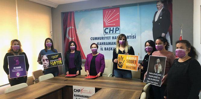 CHP Kadın Koolarının Kadına Şiddet Basın Açıklaması
