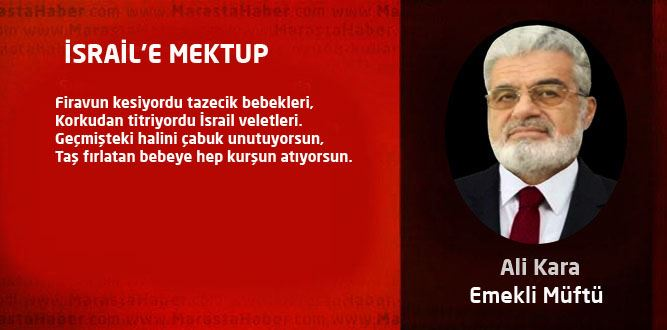 İSRAİL'E MEKTUP