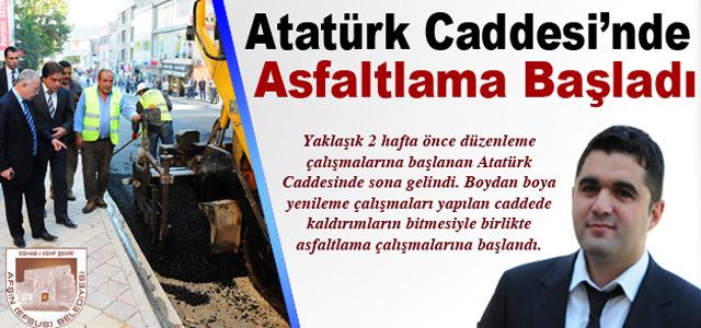 Atatürk Caddesi'nde Asfaltlama Başladı