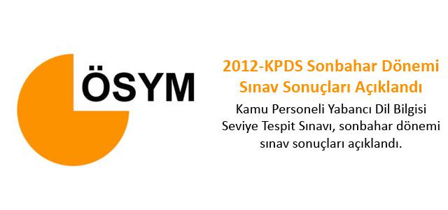 2012-KPDS Sonbahar Dönemi Sınav Sonuçları Açıklandı
