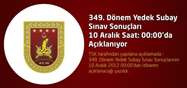 349. Dönem Yedek Subay Sınav Sonuçları TSK