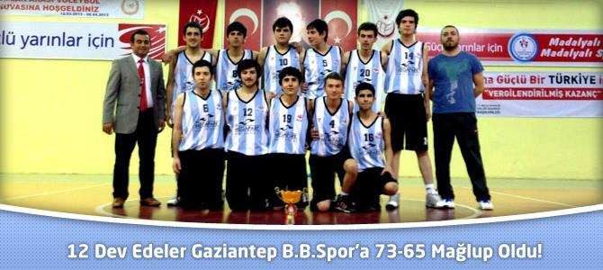 12 Dev Edeler  Gaziantep B.B.Spor'a 73-65 Mağlup Oldu!!!