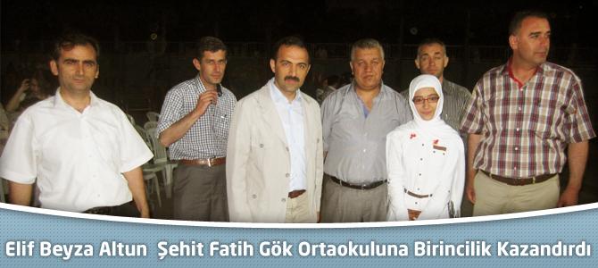 Elif Beyza Altun  Şehit Fatih Gök Ortaokuluna Birincilik Kazandırdı