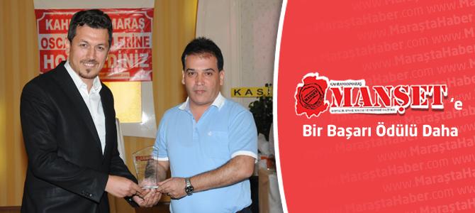 Kahramanmaraş Manşet Gazetesi'ne bir ödül daha
