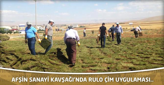 Afşin Sanayi Kavşağı'nda rulo çim uygulaması..