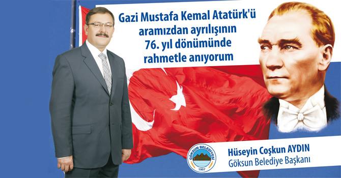 Başkan Aydın'ın 10 Kasım Atatürk'ü Anma Günü Mesajı