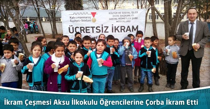 İkram Çeşmesi Aksu İlkokulu Öğrencilerine Çorba İkram Etti