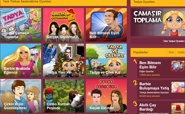 Yenilenen Tadya.com'da Yeni oyunları dene