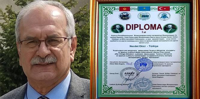 Afşinli Necdet Ekici'ye,Uluslararası Cengiz Aytmatov ödülü  verildi!
